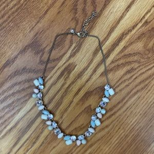 J.Crew necklace blue pink & diamond on gold chain